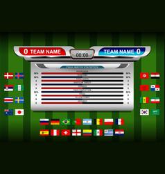 Soccer scoreboard tournament vector