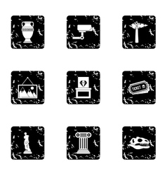 Stay in museum icons set grunge style vector