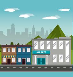 Street commercial building market shopping vector