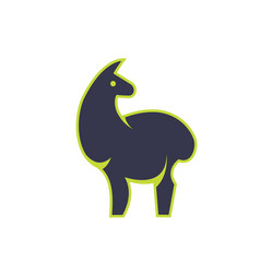 Stylish standing llama vector
