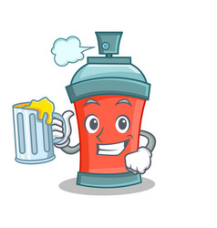 with juice aerosol spray can character cartoon vector image vector image