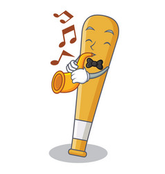 With trumpet baseball bat character cartoon vector