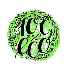 100 percent eco food menu icons hand written vector