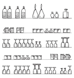 Shelves with glasses Seamless pattern vector image