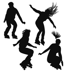 Silhouette of young people rollerblading vector