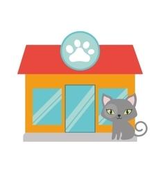 Gray small cat green eyes pet shop facade paw vector