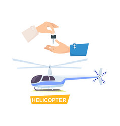 Hand passing key process of buying helicopter vector