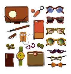 Trendy hipster accesories set vector