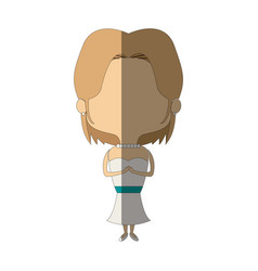 Adorable woman bride lovely marriage character vector