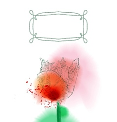 Tulip flower on watercolor background vector