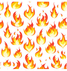 cartoon fire flames background pattern on a white vector image