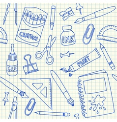 School supplies doodles on school squared paper vector
