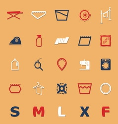 Cloth care sign and symbol icons with shadow vector