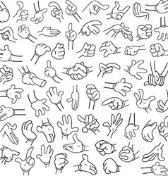 Cartoon hands pack lineart 2 vector