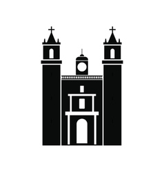 Cathedral in valladolid mexico icon simple style vector