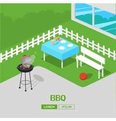House backyard barbecue bbq party isometric vector