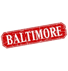 Baltimore red square grunge retro style sign vector