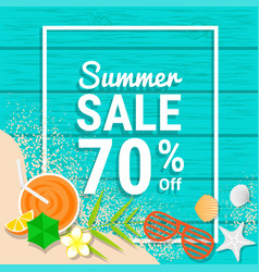 Beach item and sand on wooden for 70 percent off vector