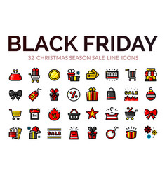 black friday sale icons vector image