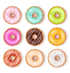 Bright tasty donuts top view set vector