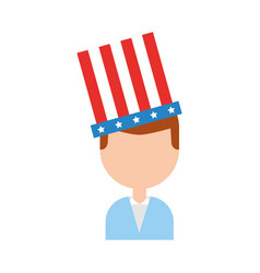 Businessman with american hat isolated icon vector