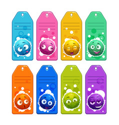 colorful kids name tags with funny cartoon round vector image vector image
