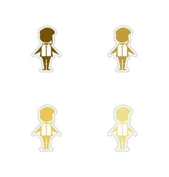 Concept of paper stickers on white background male vector