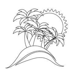 Contour background beach flat icon vector