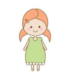 Cute smiling girl character sweet cartoon little vector