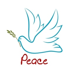 Flying dove of peace with green twig vector image vector image
