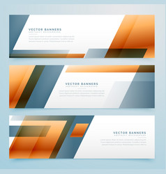 Geometric business banner design set of three vector
