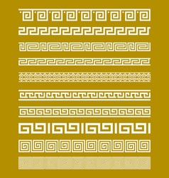 Gold meander patterns vector