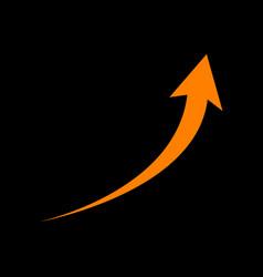 growing arrow sign orange icon on black vector image vector image