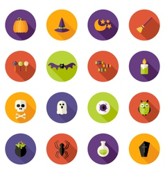 Halloween colorful flat circle icons set vector