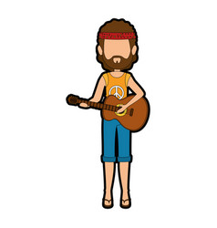 hippie man cartoon vector image