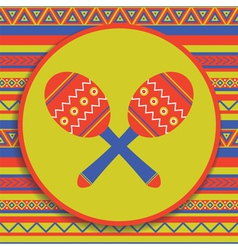 Maracas on patterned background vector