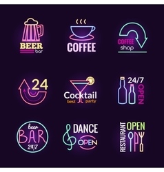 Neon signs set vector
