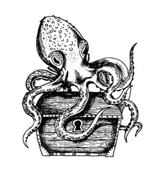 octopus guards treasure engraving vector image vector image