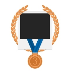 Photo frame with bronze medal vector image vector image