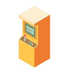 Retro arcade machine with game over message flat vector