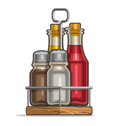 Set glass shakers for salt and pepper vector
