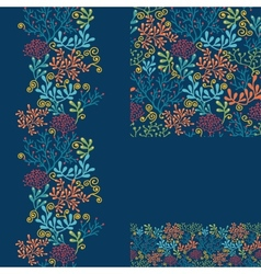 Set of dark plants seamless pattern and borders vector image