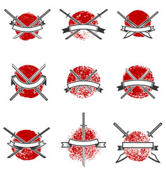 Set of labels with samurai swords design elements vector