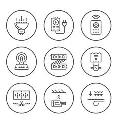 Set round line icons of led equipment vector