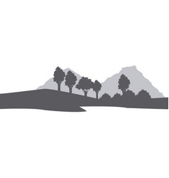 Silhouette muntain tree landscape natural image vector