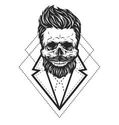 Skull hipster style vector