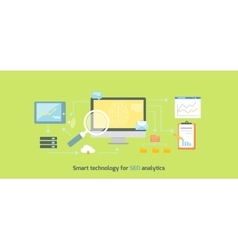 Smart Technology for SEO Analytics Icon Flat vector image vector image