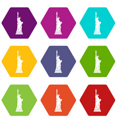 statue of liberty icon set color hexahedron vector image vector image