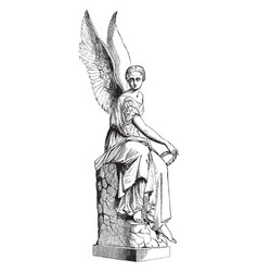 Statue of victory was represents a greek goddess vector