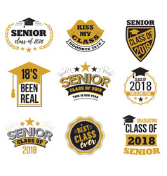 the set of black and gold colored senior text vector image vector image